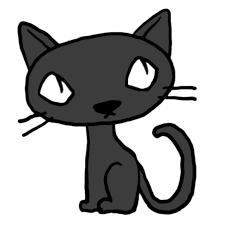 しゃがんで斜め上を見る猫黒猫かわいい無料イラスト素材商用利用可