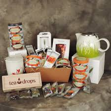 tea gift basket of orted teas teapot and tea drops