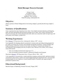 Great Retail Resume Examples Valuable Perfect Retail Resume Retail Manager Resume Example Free 6