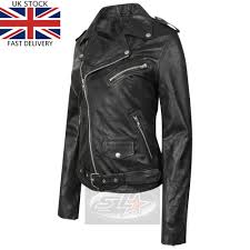 details about uk stock womens black vintage real leather las biker brando fashion jacket