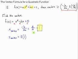 vertex formula of a quadratic function