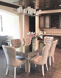 the wine china area want this sort of mirrored table with fabric chairs what s your z gallerie style personality
