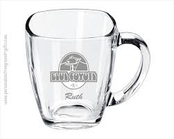 engraved square glass coffee mug broadway