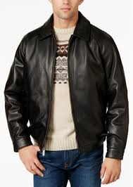 leather lay down er jacket nautica