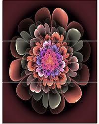 design art mt12137 3pv perfect fractal flower in dark brown floral metal wall art  on dark brown metal wall art with deal alert design art mt12137 3pv perfect fractal flower in dark
