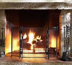 twisted metal fireplace triple screen potterybarn 199