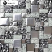 tst crystal glass tile glossy mosaics silver inner le grain kitchen glass tile backsplash deco art
