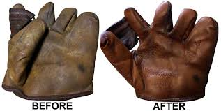 before after baseball glove cleaning conditioning