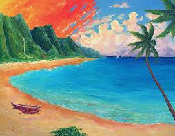 kauai beach sunset painting by michael baum