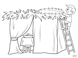 Jewish Coloring Pages For Shabbat With Boy Builds A Sukkah Page Free