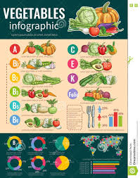 Vitamins A To Z Chart Healthy Vegetables And Vitamins Infographics Stock Vector