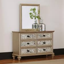 home styles visions 6 drawer silver gold champagne finish dresser with mirror 5576 74 the home depot