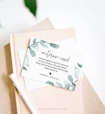 Eucalyptus Enclosure Card Template Wedding Bridal