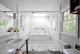 bathroom shower and tub. Modern Bathroom Design With Marble Washstand, Double Sinks, Soft Gray Walls Paint Color, Modern, Polished Nickel Sconces, Tiles Shower Surround, And Tub