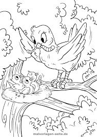 Kleurplaat Vogel Voedt Haar Welpen Gratis Kleurpaginas Om Te
