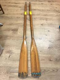 pair of wooden oars rowing boat 196cm length