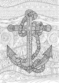 Illustration Of An Anchor And Rope. Coloring Page For Adults ...