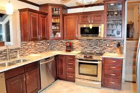 rustic corner kitchen cabinets line wall