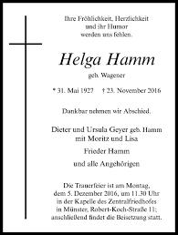 Traueranzeigen von Helga Hamm   www.trauer.ms