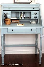 vintage desk with a light blue tint