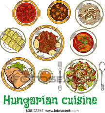 Clipart   Nahrhaft, Geschirr, Von, Ungarische, Küche, Skizze, Symbol.