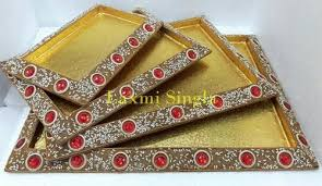 Saree Tray Decoration Beauteous Designer Lakh Trays At Rs 32 Set Lakh Work Trays Boxes And