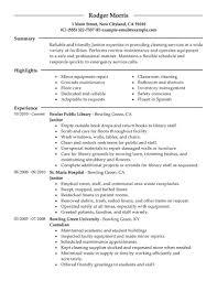 Resume Sample Janitorial Resume