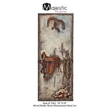 majestic mirror tall south west horse ranch mixed media metal wall art 2363