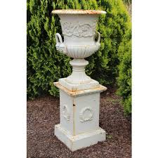 garden pedestal. Cassis Cast Iron Urn On Pedestal Garden Art