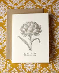 letterpress card vine style vegetable card artichoke card garden gift 4 00 via etsy letterpress from lemon zest press