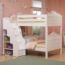 Genial Cream Bed Sheet Along With Wooden Stairs Having Books Shelves Beside  Placed On Brown Wooden