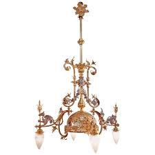 maison eugene potron chandelier decorated with dragons for
