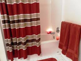 black cream and red curtain for shower