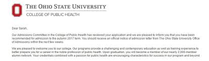sarah fisher depaul university deblogs my personal statement must have payed off i ve already been accepted to ohio state