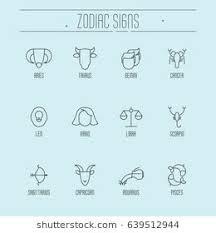 Set Of Zodiacal Icons For Horoscope Wheel Chart Banner