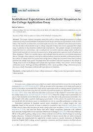 University Application Essay Pdf Institutional Expectations And Students Responses To The