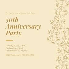 50th Anniversary Party Invitations Customize 1 188 50th Anniversary Invitations Templates