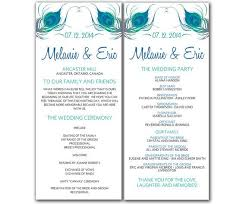 Free Microsoft Word Wedding Program Template Diy Peacock Wedding Program Microsoft Word By