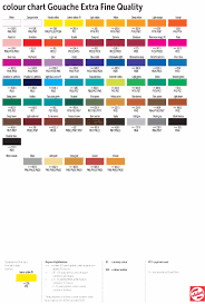 Royal Talens Artists Extra Fine Gouache Tubes 20ml Colour Chart