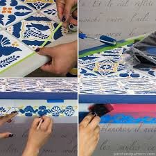 steps for stenciling a talavera tile table via paint pattern