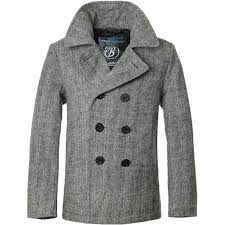 brandit classic navy pea coat mens wool reefer