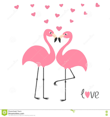 Couples Et Coeurs Roses De Flamant Amour De Mot Oiseau Tropical