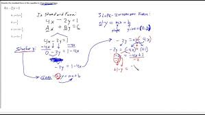 rewrite standard form linear equation into slope intercept of worksheet answers maxresde standard form of linear