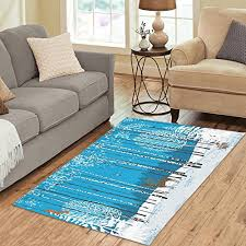 interestprint home decoration winter forest landscape birch tree area rug carpet 5 x 3