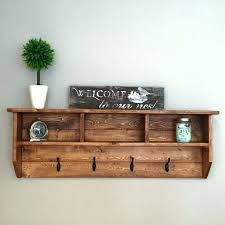 Rustic Wall Coat Rack Extraordinary Rustic Wall Shelf With Hooks Wall Clothing Hooks Hanging Coat Rack
