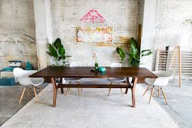 custom made claro walnut copper live edge midcentury modern dining table the april live