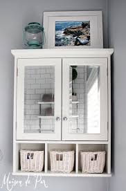 Bathroom White Cabinets Bathroom White Over The Toilet Cabinet With Glass Doors And