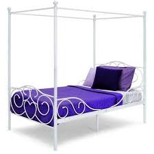 METAL CANOPY BED Frame White Twin Size Slats Heart Scroll Girl Bedroom Furniture