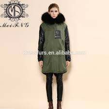 leather sleeve faux fur green parka coat with fox fur collar for men or women