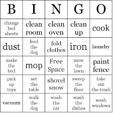 Household Chores Bingo Cards